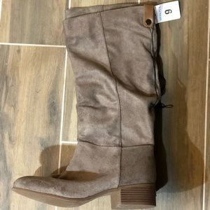 Taupe tall suede boots